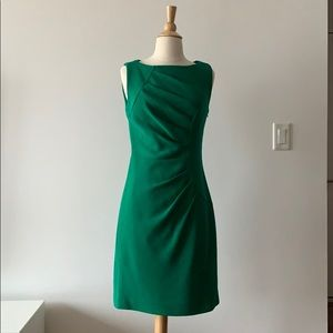 Green Pleated Wool Sheath Dress
